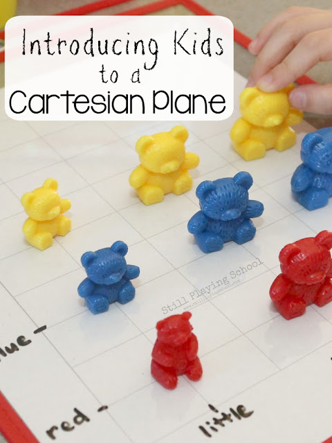Introducing algebra to kids using a Cartesian Plane for counting bears math play!