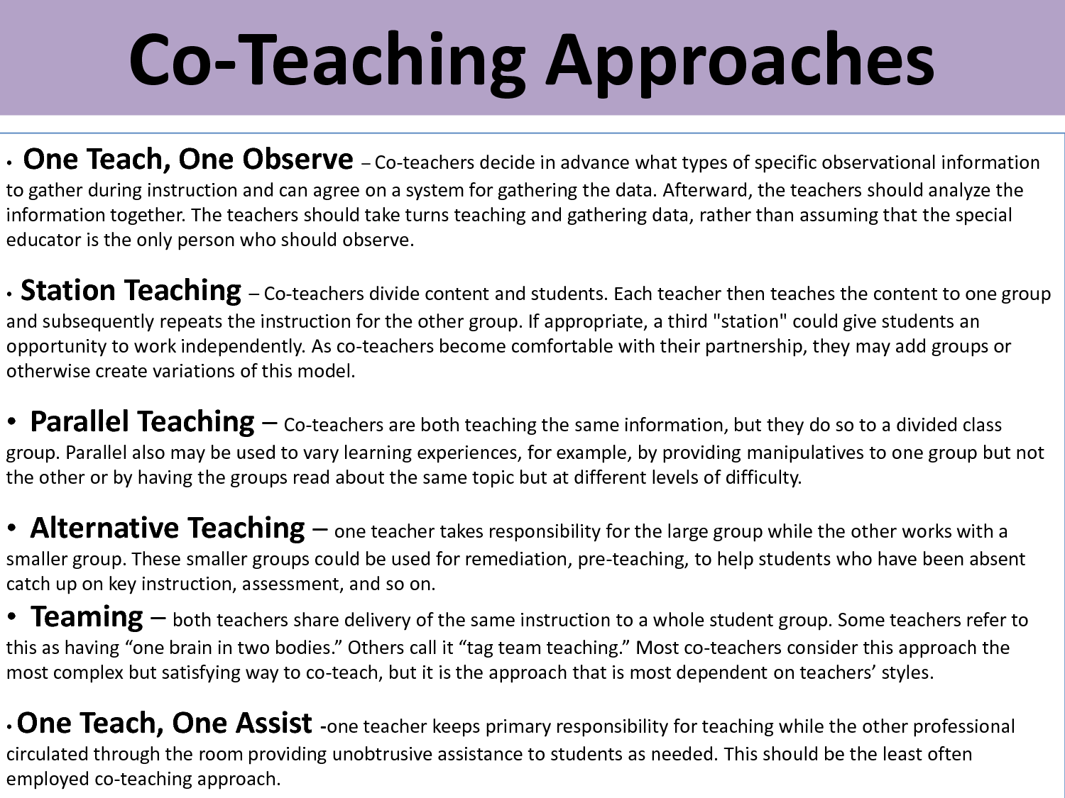 how do i implement co teaching School teams spend precious time creating the foundations of inclusive programs for students with disabilities careful thought goes into scheduling co-taught classes, creating balanced.