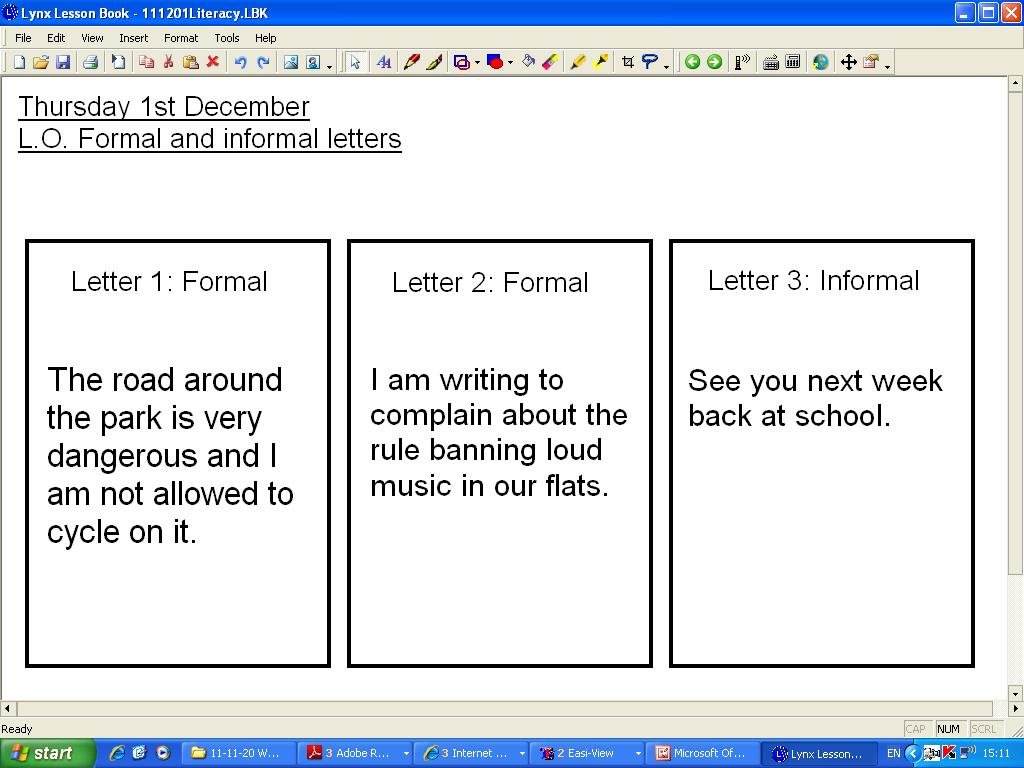 Mr Howe U0026 39 S Class  Literacy  Formal And Informal Letters