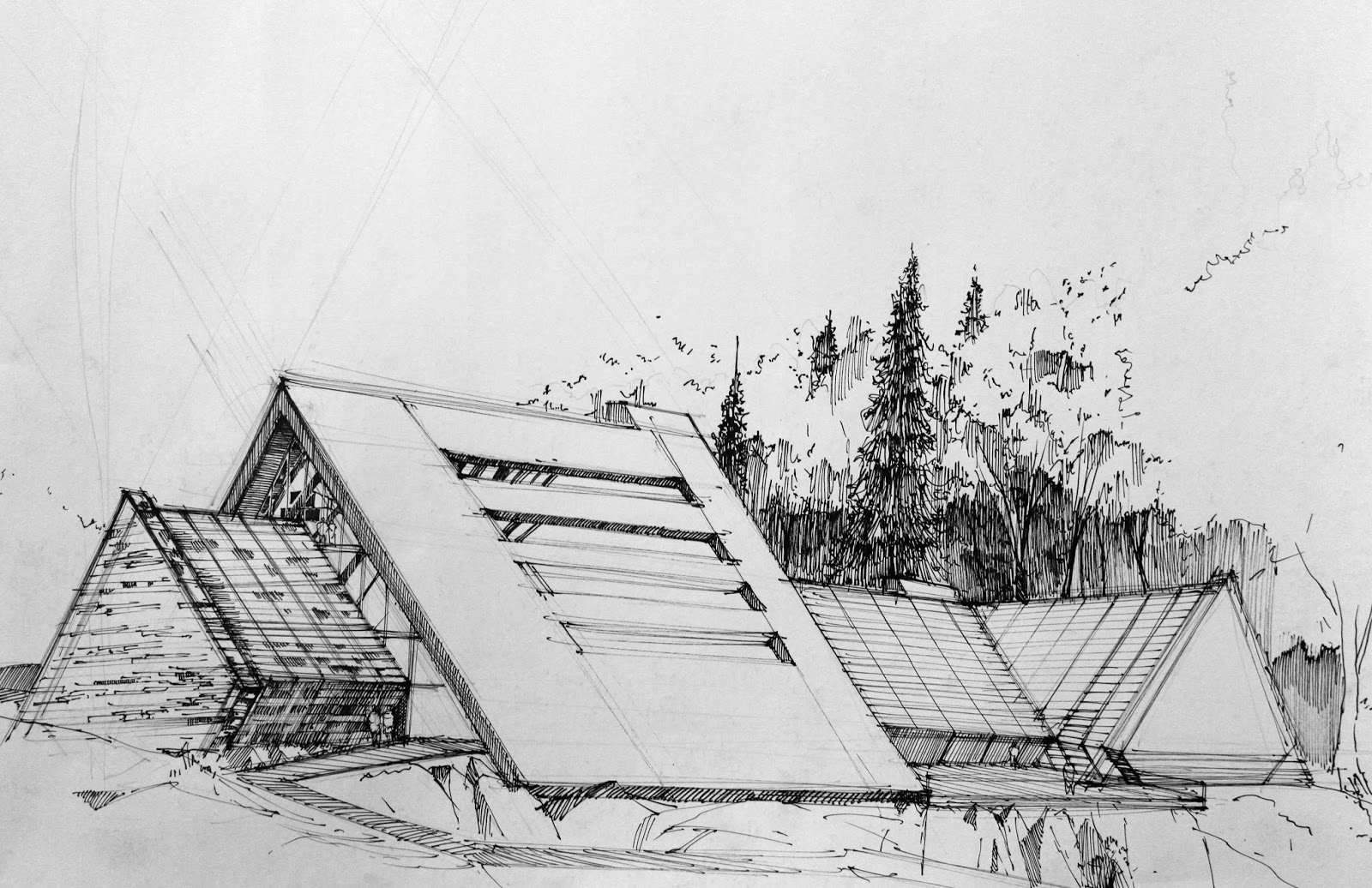 Modern architecture sketches artur st pniak gallery for Modern house sketch