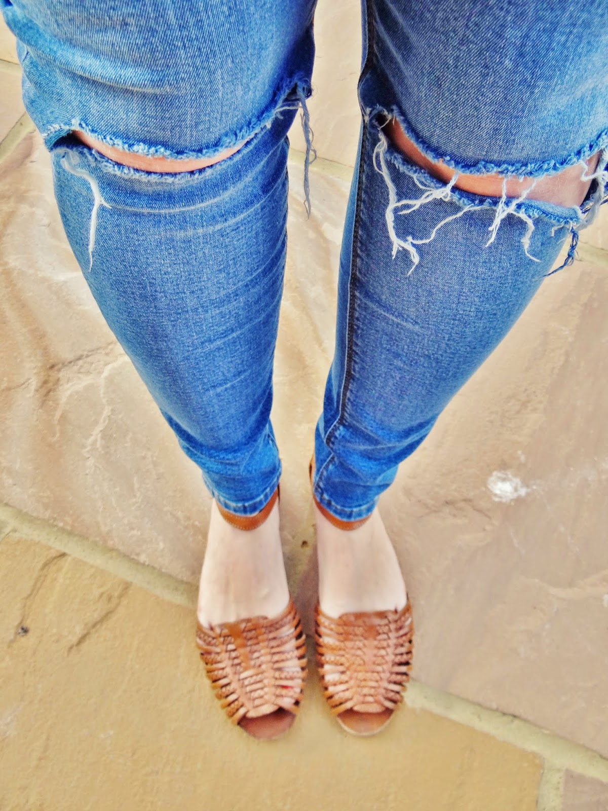 ASOS jeans with busted knee blue denim