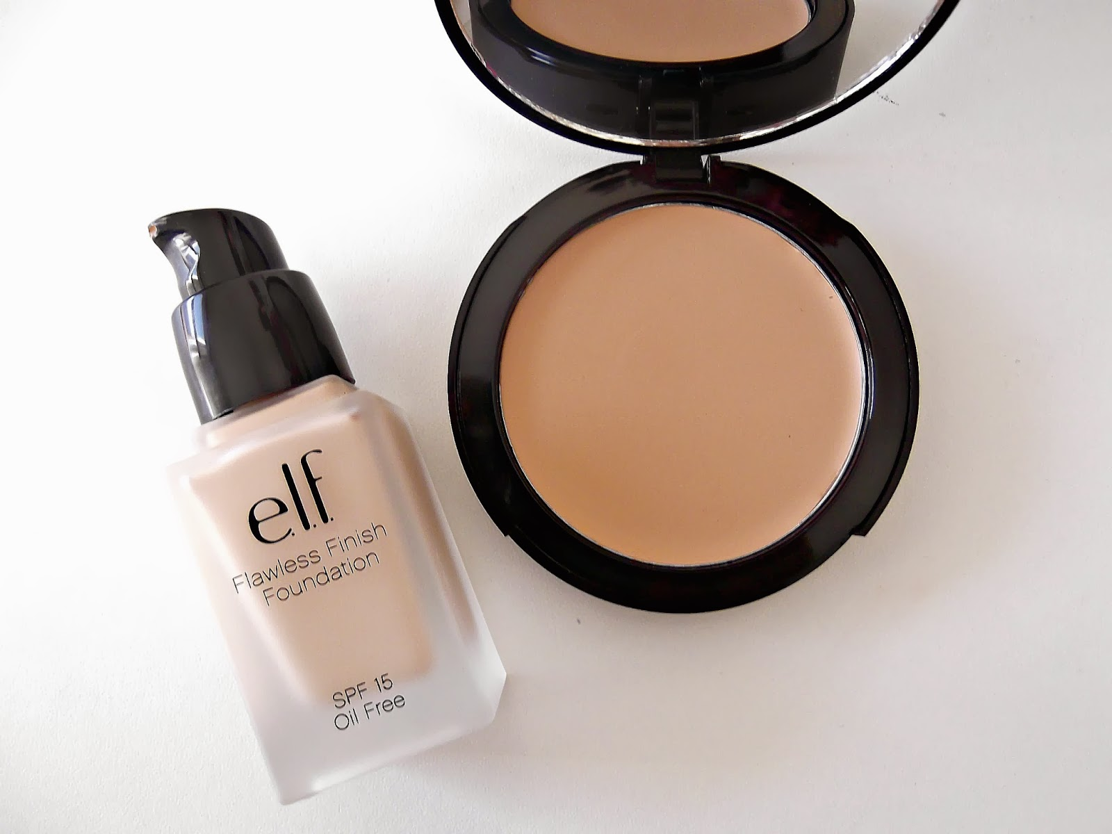 An Image Of e.l.f Flawless Finish Foundation and HD Mattifying Cream Foundation in Porcelain