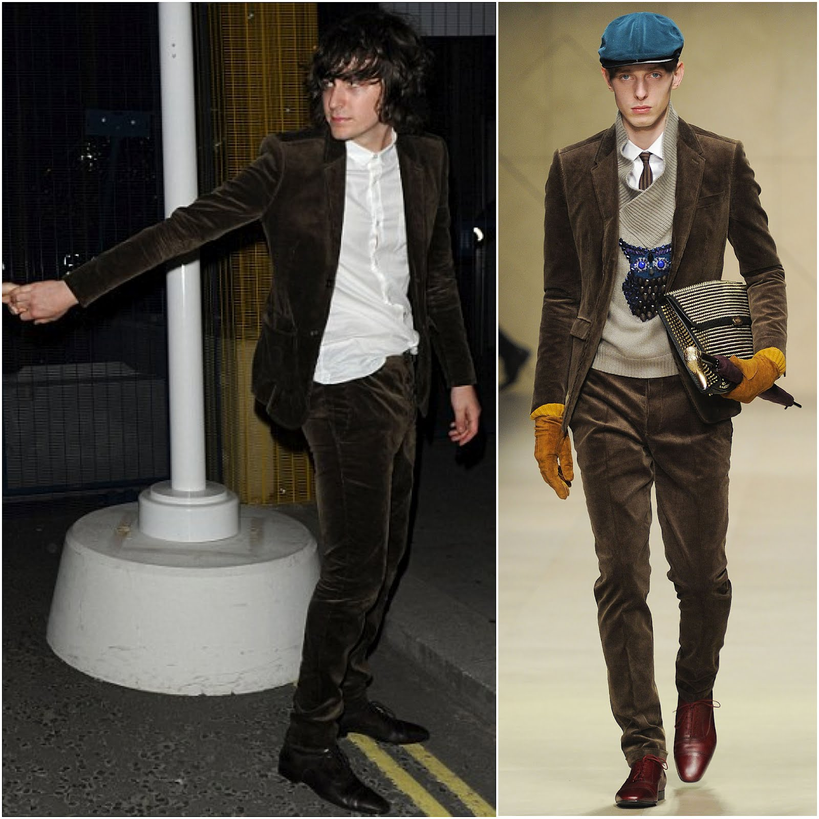 00O00 London Menswear Blog celebrity style George Craig in Burberry Prorsum Quilted corduroy jacket fall winter 2012 Diana Vickers 21st birthday party Whisky Mist