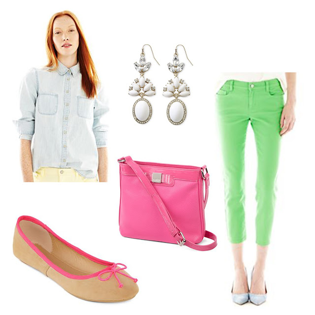 joe fresh, jcpenney, spring, summer, outfit, green, pants, skinny jeans, kelly green, lulu guinness, ballet flats