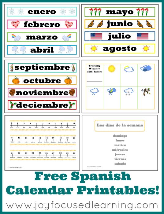 Spanish Calendar Time Printables - New & Improved! | Joy Focused ...