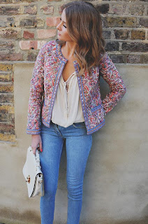 Embellished, Ethnic Print, Floral Print, Jacket, Made In Chelsea, MIC, Millie Mackintosh, Mirrored, Monsoon, Multi-coloured, Pastel, Quilted, Round Neck,