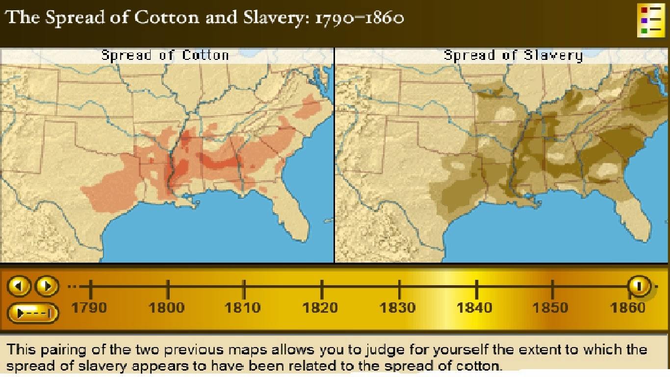 spread of slavery compared with the spread of cotton