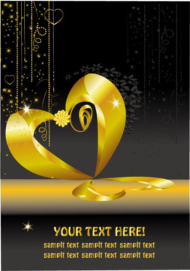 金色に輝くハート型ペンダント golden heartshaped pendant イラスト素材4
