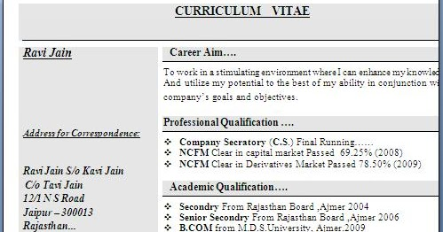 bcom experience resume format