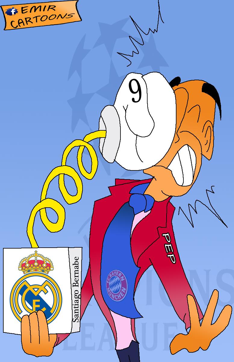 Guardiola,Benzema,Lige Prvaka,Real Madrid,Real Madrid Bayern Munchen,Bayern Munchen, cartoon,karikature,karikatura dana,emir balkan cartoons,omar momani cartoons,fudbal,Real Madrid 1 - 0 Bayern Munchen,