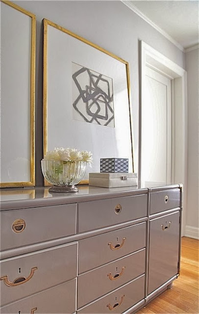vignette styling gray painted chest oversized gold framed art