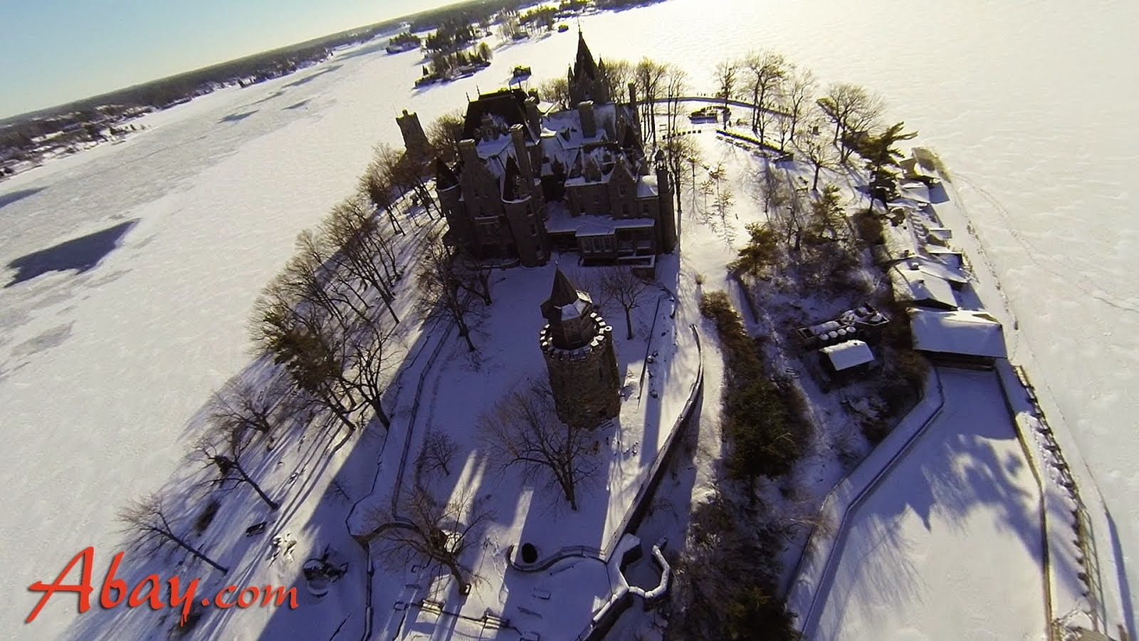 Boldt Castle in Winter from 1000IslandsOne Drone