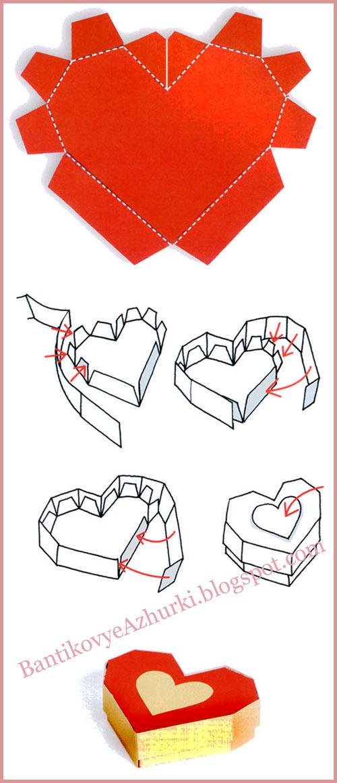 Коробочки в виде сердечек своими руками
