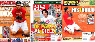 Nadal en las portadas de los diarios deportivos españoles