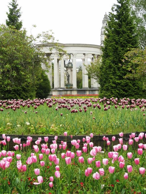 Columns of a monument in the distance with pink tulips in the foreground