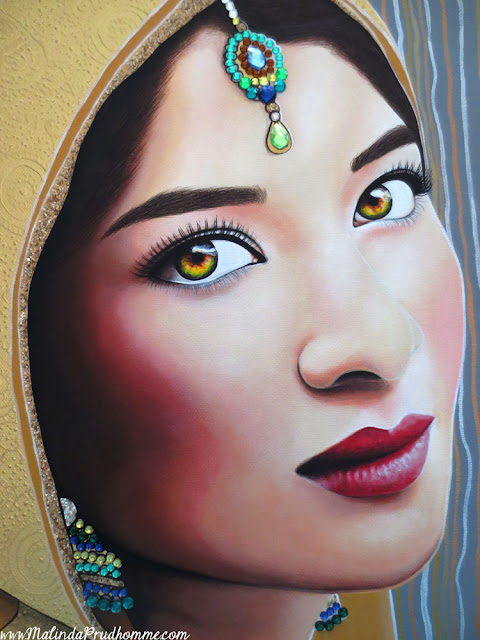 indian, indian bride, sikh, sikh bride, indian beauty, beauty, gold, golden indian bride, multicoloured eyes, gems, jewels, portrait, toronto, toronto portrait artist, realism, Malinda Prudhomme