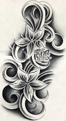 Custom flowers tattoo design by WillemXSM Membuat Tato warna hitam dengan photoshop