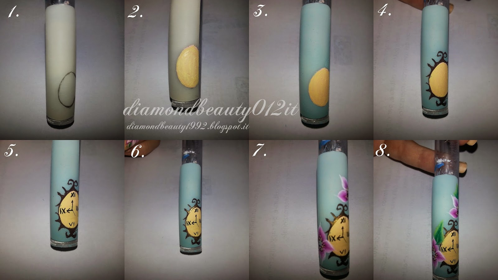 step by step orologio nail art