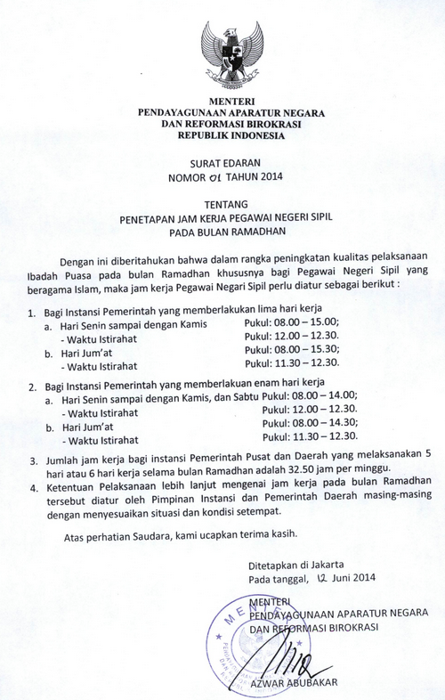 Jam Kerja PNS Pada Bulan Ramadhan 2014
