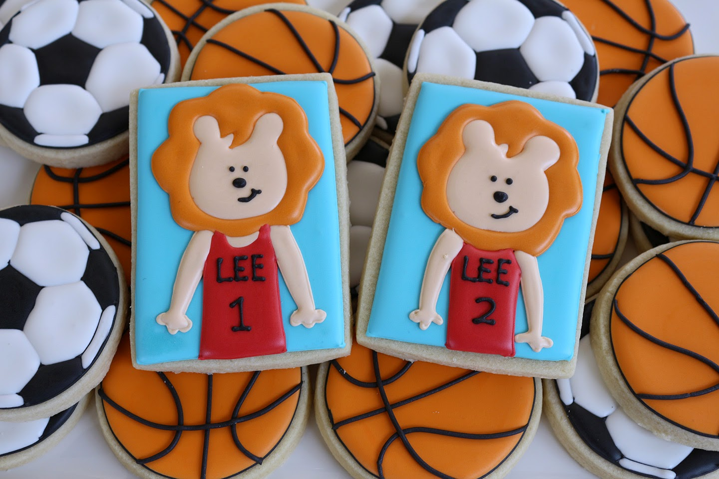 sports themed baby cookies