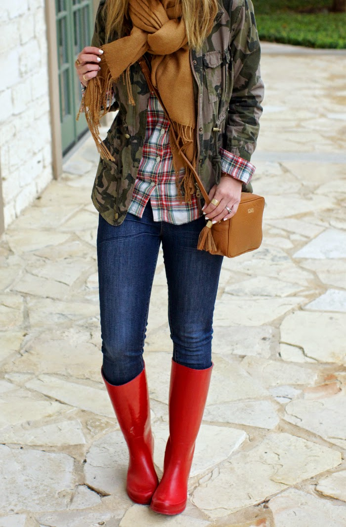 ways to wear red rain boots