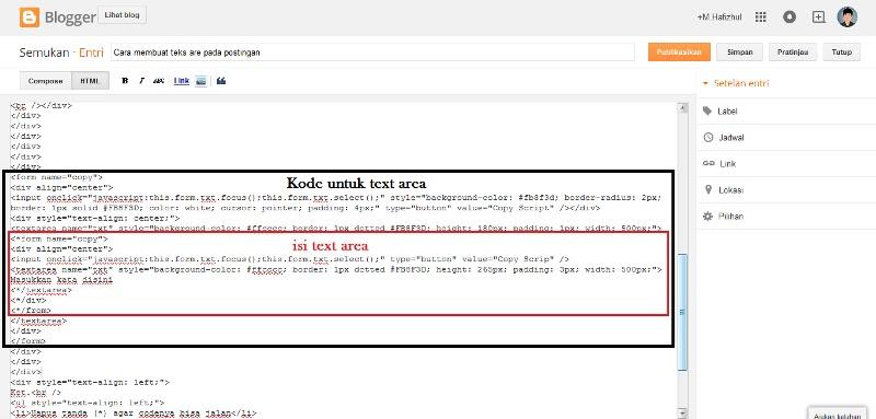 Cara membuat teks are di postingan blog