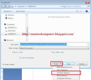 Cara membuat password di word, cara membuat password di Document word, cara membuat password, tips word, word 2007, microsoft word, tips komputer 1