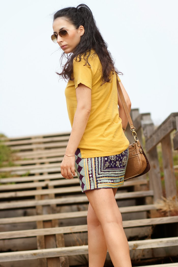 Mustard and Purple embroiderd skirt by Zara