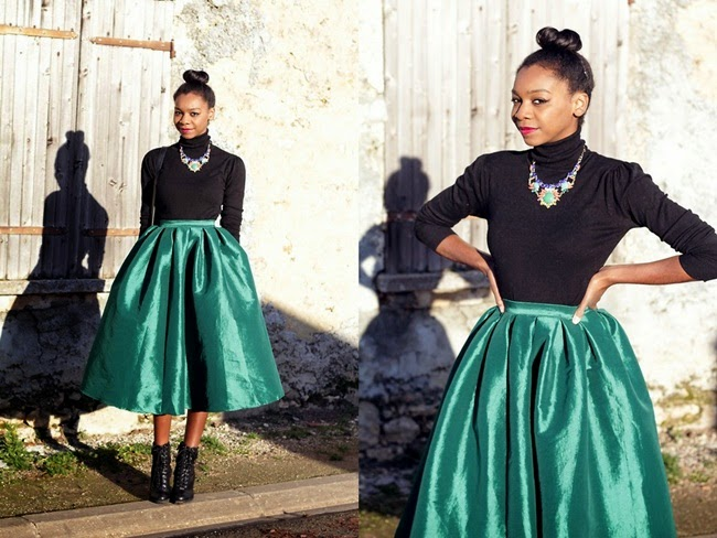 Choies Emerald Green Midi Skater Skirt