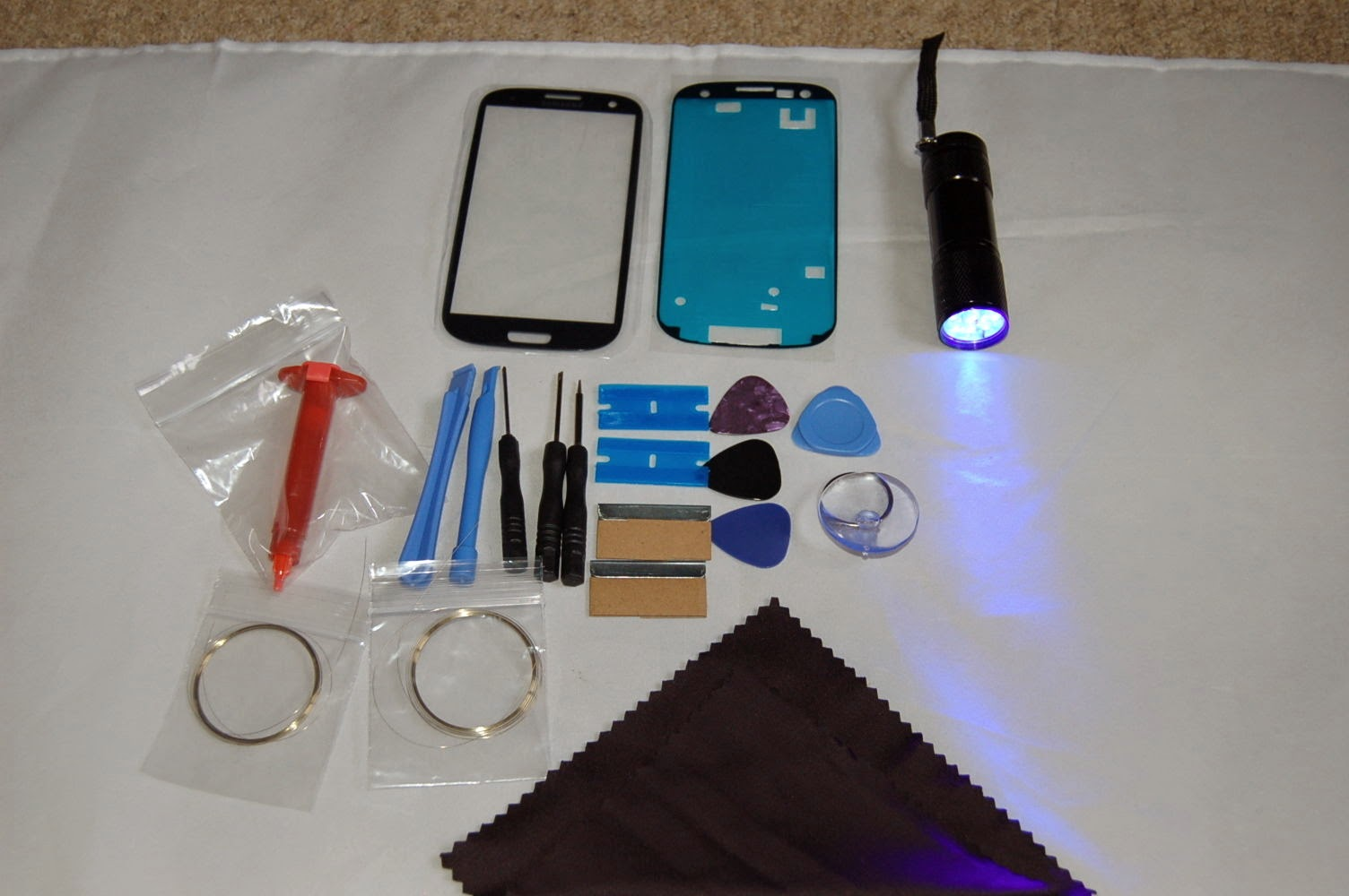 samsung galaxy s3 i9300 i9305front glass repair kit pebble blue with uv torch