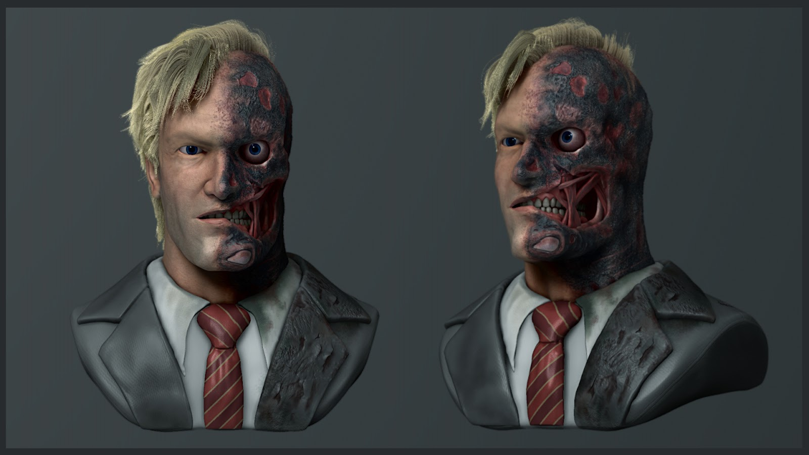 Harvey Dent / Two face_Batman Dark Knight - Final Render: adiicgworks.blogspot.com/2013_08_01_archive.html