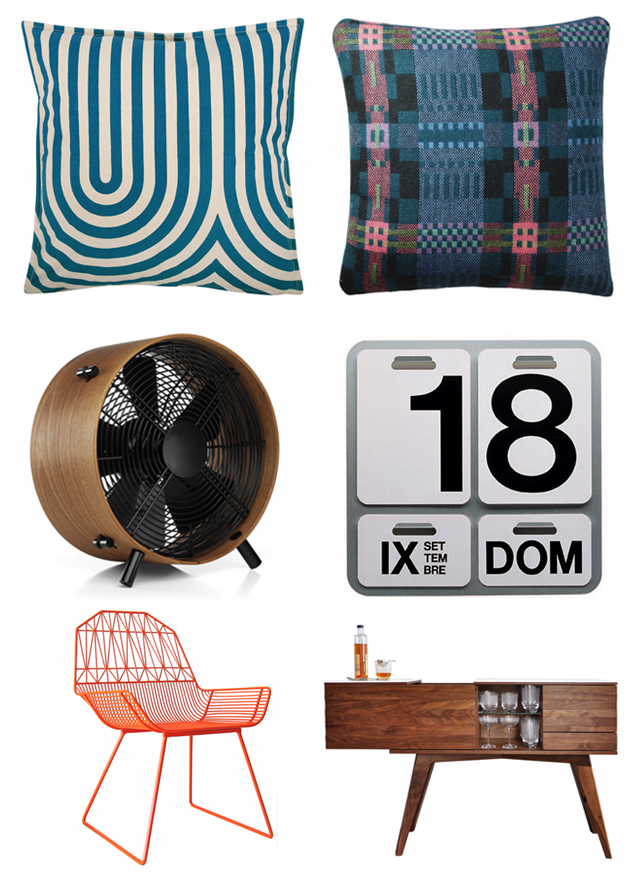 geometric pattern cushions, wooden fan, retro perpetual calendar, orange wire chair, 50's desk