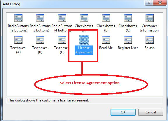 License Agreement option in setup