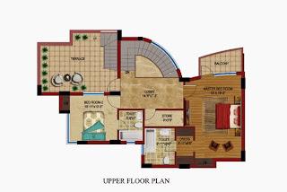 Czar Suites :: Floor Plans:-Darius 8 - Upper Floor Plan (With Servant) Area - 2995 sq. ft.Terrace Area - 506 sq. ft.