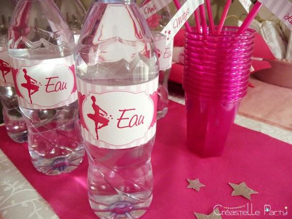 étiquettes ballerine des bouteilles d'eau