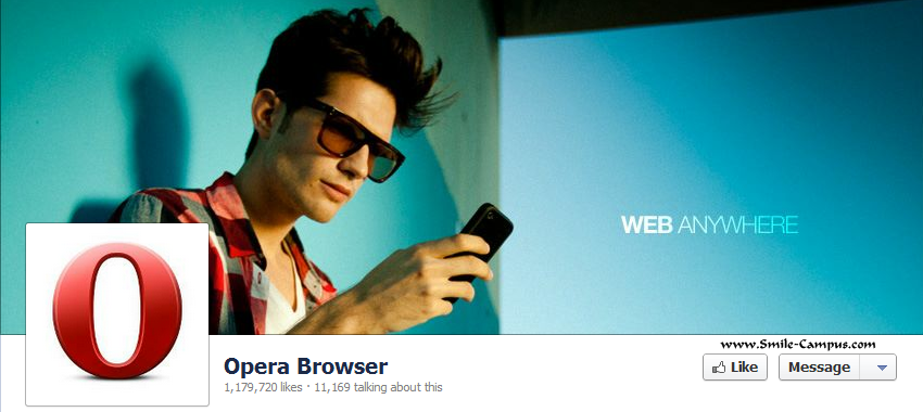 Facebook Fan Page of Opera Web Browser