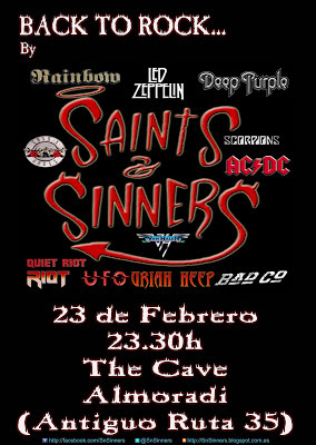 Cartel para la actuación de Saints n Sinners en The Cave