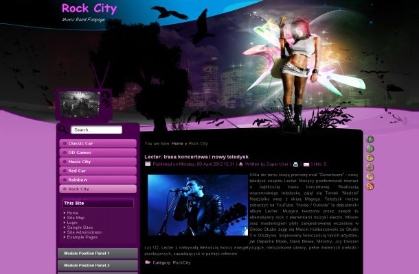 Free Joomla Pink Rock Music Flash Theme Template