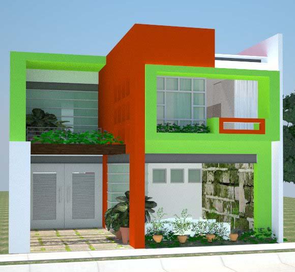 rumah minimalis anda dengan motif warna hijau contoh gambar rumah