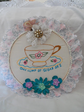 One Lump or 2 Embroidered Canvas