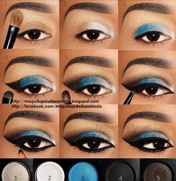 Maquillaje para Navidad con Sombras Azul Plata y Delineado Negro