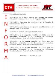 C.T.A. INFORMA CRÉDITO HORARIO MANUEL FERNANDEZ, MAYO 2019