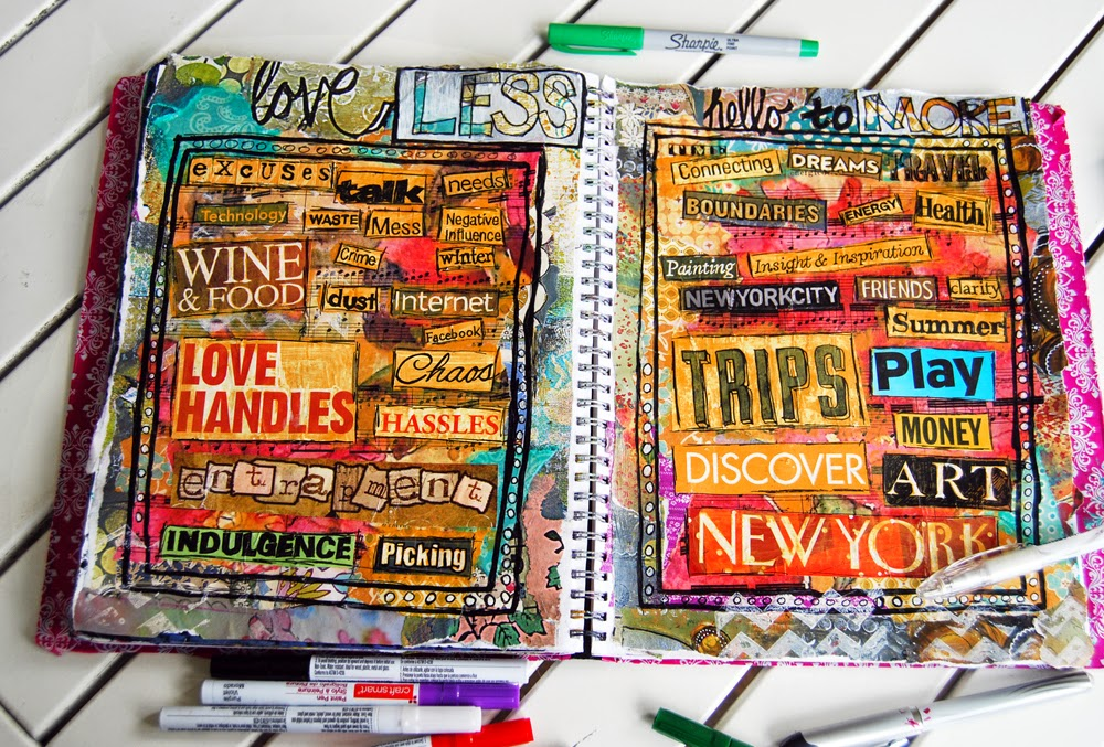 Art blog for the inspiration place an art journalre or less art journal idea write the word less on one side and more on the other cut out words from magazines and sort them into piles publicscrutiny Choice Image