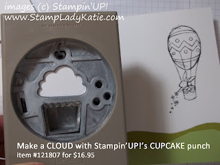 Stampin'UP!'s Cupcake punch used to make clouds for a project.