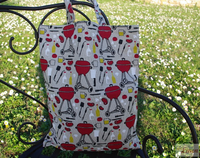 epic linen vintage style reto barbeque print tote bag