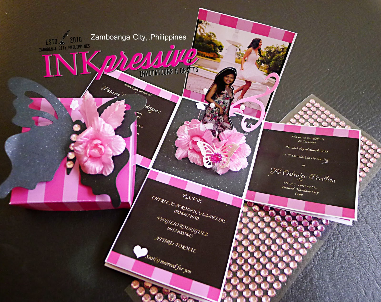 Pink striped and black exploding box invitation debut victoria inspired by the victoria secret pink stripes this double exploding box debut invitation is both charming and fun the cover is topped with an embellished stopboris Gallery