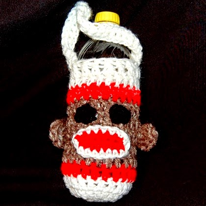 Sock Monkey Water Bottle Cozy Crochet Pattern