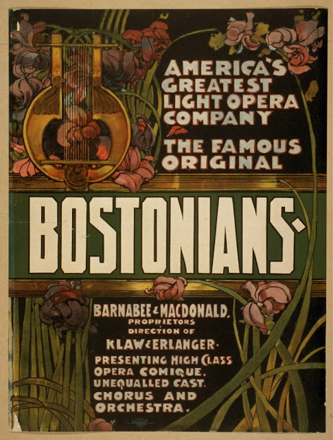 advertising, art, classic posters, free download, graphic design, movies, retro prints, theater, vintage, vintage posters, America's Great Light Opera Company, The Famous Original Bostonians' - Vintage Theater Opera Poster