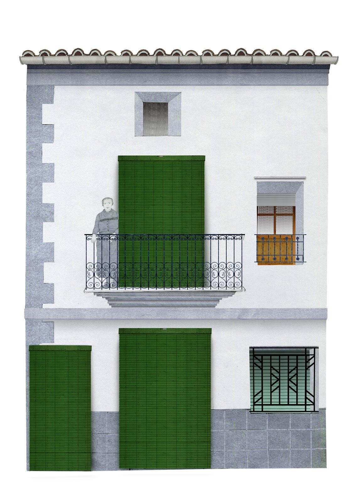 arquitectura, rural, casa, balconj con señora, dibujo