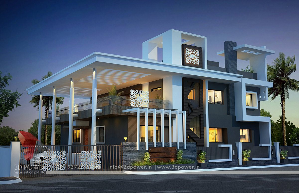 Home decor contemporary bungalow exterior designs for Exterior 3d design